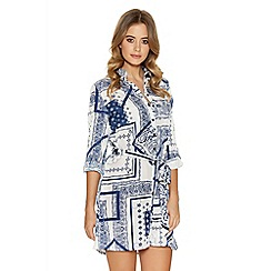 Quiz - White and navy tile print tile belt shirt dress