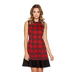 Quiz - Red And Black Check Panel Flippy Dress