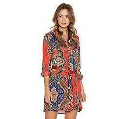 Quiz - Red paisley print tie belt shirt dress