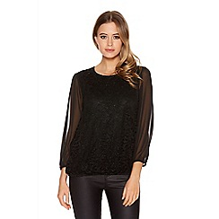 Quiz - Black Glitter Lace Chiffon Sleeves Top