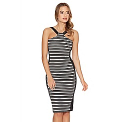 Quiz - Black and cream stripe midi panel dress