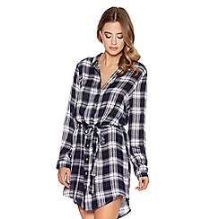 Quiz - Blue and white woven check print belt shirt dress