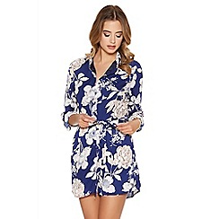 Quiz - Blue And Nude Flower Print Button Playsuit