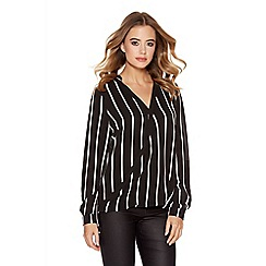 Quiz - Black And Cream Stripe Cross Over Blouse