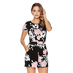 Quiz - Black And Pink Crepe Tie Back Playsuit