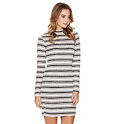 Quiz - Grey Pink And Black Turtle Neck Bodycon Dress