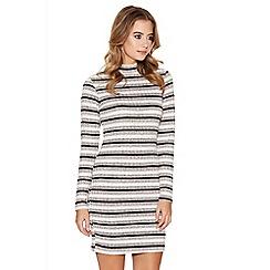 Quiz - Grey Pink And Black Turtle Neck Bodycon Dress