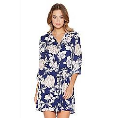 Quiz - Blue and nude flower print button shirt dress