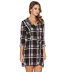 Quiz - Black Pink And Grey Check Tie Belt Shirt Dress