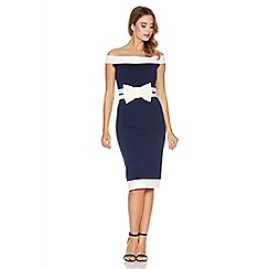 Quiz - Navy and cream bow bardot midi dress