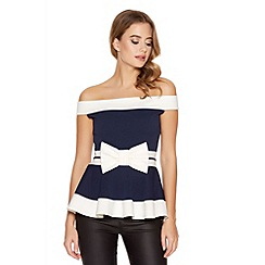 Quiz - Navy And Cream Bow Bardot Peplum Top