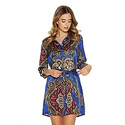 Quiz - Blue paisley print tie belt shirt dress