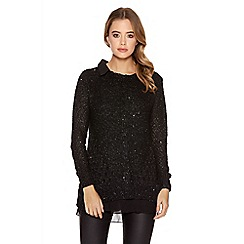 Quiz - Black crochet long sleeve chiffon collar top