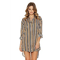 Quiz - Stone and navy stripe 3/4 sleeve shirt dress