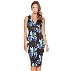 Quiz - Black Green And Purple Flower Print Midi Dress