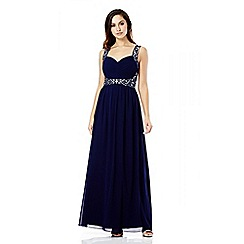 Quiz - Navy chiffon pleated diamante maxi dress