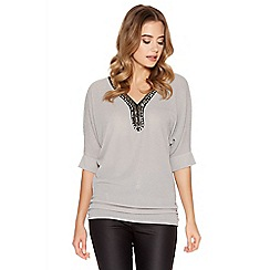 Quiz - Grey Glitter 3/4 Sleeve Silver Neck Trim Top