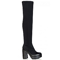 Quiz - Black Chunky Heel Stretch Over The Knee Boots