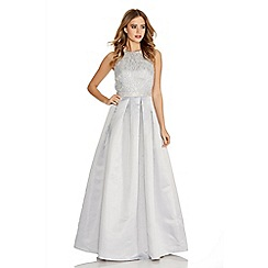 Quiz - Grey Sleeveless Lace Diamante Trim Maxi Dress