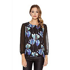 Quiz - Black Flower Print Bubble Chiffon Sleeve Top
