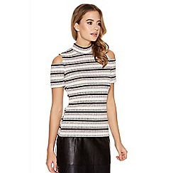 Quiz - Grey Stripe Cold Shoulder Turtle Neck Top