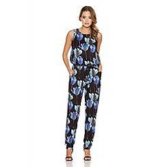 Quiz - Black Flower Print Tie Belt Jumpsuit