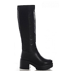 Quiz - Black chunky heel stretch boots