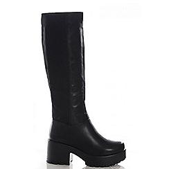 Quiz - Black chunky heel stretch boots