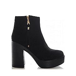 Quiz - Black faux suede tassel ankle boots
