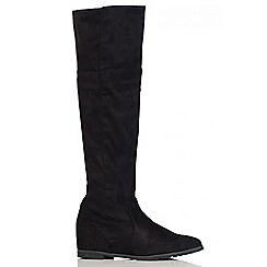 Quiz - Black Knee High Pointed Toe Boots