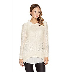 Quiz - Champagne crochet long sleeve chiffon collar top