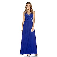 Quiz - Royal Blue Mesh Lace Beaded Maxi Dress