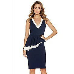 Quiz - Navy And Cream V Neck Double Peplum Midi Dress
