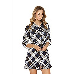 Quiz - Navy Check Print Tie Belt Shirt Dress