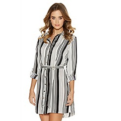 Quiz - White And Black Stripe Button Belt Shirt Dress