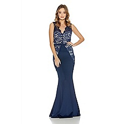 Quiz - Navy And Cream Lace Panel Cut Out Back Maxi Dress