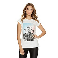 Quiz - White New York Sequin Print T -Shirt