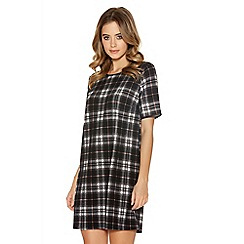 Quiz - Black Crepe Check Print Tunic Dress