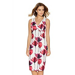 Quiz - White And Pink V Neck Midi Dress