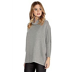 Quiz - Grey knit 3/4 sleeve open back jumper
