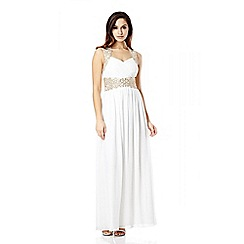 Quiz - Cream and gold embellished pleated maxi dress
