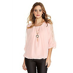 Quiz - Pink Chiffon Lace Bow Bubble Necklace Top