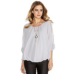 Quiz - Grey Chiffon Lace Bow Bubble Necklace Top