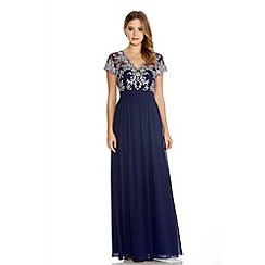 Quiz - Navy And Silver Embroidered V Neck Chiffon Maxi Dress