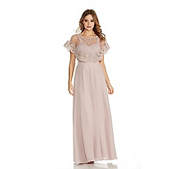 Quiz - Mocha Chiffon V Neck Detachable Cape Maxi Dress