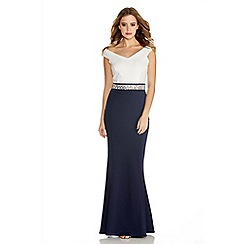 Quiz - Cream And Navy Diamante Bardot Fishtail Maxi Dress