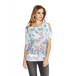 Quiz - Aqua Chiffon Butterfly Diamante Split Top