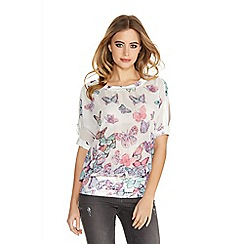 Quiz - White Chiffon Butterfly Diamante Split Top