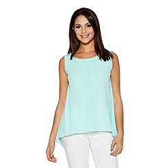 Quiz - Aqua And Gold Neck Trim Lace Bow Top