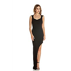 Quiz - Black Strap Cut Out Back Asymmetric Maxi Dress